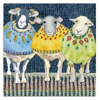 "Karte ""Three woolly sheep"""